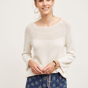 Moth Anthropologie Mila Linen Cotton Sweater L